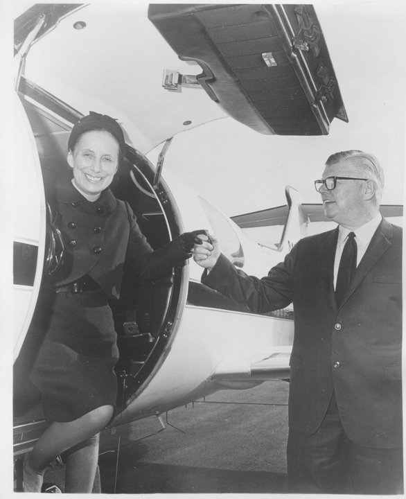 Bill and Moya Lear step out of a Lear Jet